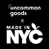 On a black background are two logos: one for uncommon goods and one for Made in NYC. R+D is a Made in NYC member and is currently a vendor in their pop up shop on uncommon goods.