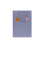 Load image into Gallery viewer, Two small and detailed R+D earrings are shown on a purple earring card. They are shaped as popsicles with white sticks. The earrings are mismatched, one popsicle is a vibrant orange and one is light pink