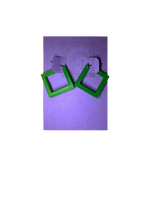 Load image into Gallery viewer, On a bight purple R+D card are two 3D printed earrings. They are hoops that are in the shape of squares. These are printed in a bright kelly green.