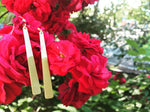 Load image into Gallery viewer, Hanging off of a cluster of bright red roses are two earrings. They are long white dangles that have been dipped in a gold metallic paint.