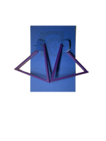 Load image into Gallery viewer, Hanging off of a blue R+D earring card are two 3D printed earrings. They are hoops that are in the shape of a triangle. These earrings are printed in a eco friendly purple.