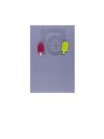 Load image into Gallery viewer, Two small and detailed R+D earrings are shown on a purple earring card. They are shaped as popsicles with white sticks. The earrings are mismatched, one popsicle is hot pink and one is bright yellow.