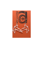 Load image into Gallery viewer, Shown on a bright orange earring card are two R+D earrings. They are geometric line shapes of birds flying. These sustainable 3D printed earrings are printed in white.