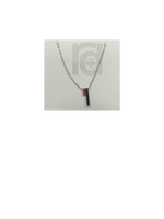 Load image into Gallery viewer, Pictured on a grey card is a R+D 3D printed necklace. There are two skinny pendants hanging from the chain. One is a dark merlot red and the other is black. When turned to the side, you can see the message on the side of the pendants.