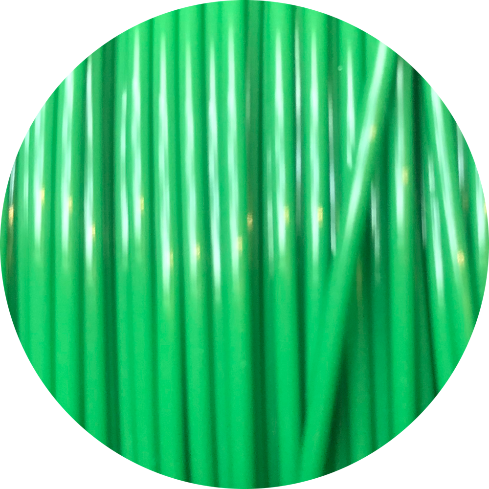 This is a close up of the spool of the eco friendly 3D printer filament that we use to create our items. Pictured here is our green spool, it is a bright kelly green color like freshly mown grass, tropical leaves, and emeralds.