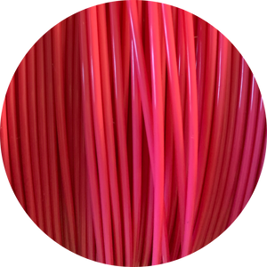 This is a close up of the spool of the eco friendly 3D printer filament that we use to create our items. This is our hot pink spool, it is a vibrant and eye catching pink like bubble gum, gerbera daisies, or neon signs.