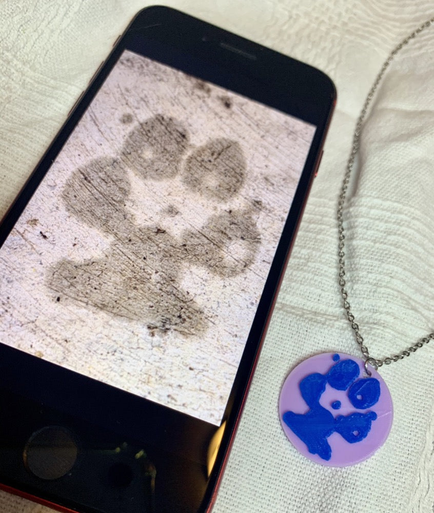 Shown laying on a white fabric is a phone and a necklace with a 3D pritned pendant. The pendant is a 1 inch light purple circle with a bright blue paw print on it. The picture on the phone is of the same paw print and was used to create the custom print.