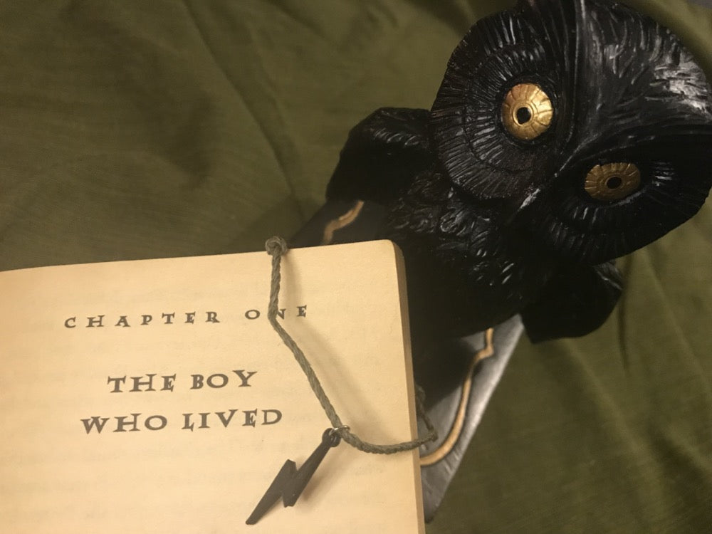 There is a black owl with gold eyes and a book opened so you can read, chapter one, the boy who lived. Hanging off the cover of the book is an adjustable bracelet that has a dark green and all natural cord. There is a charm shaped like a lightning bolt that is 3D printed in a black plant based material.