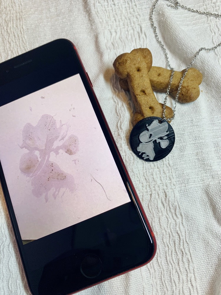 Shown laying on a white fabric is a phone, a necklace with a 3D pritned pendant, and two dog bone shaped treats. The pendant is a 1 inch black circle with a silver paw print on it. The picture on the phone is of the same paw print and was used to create the custom print.