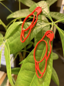 Two R+D earrings are shown hanging off of lush green leaves. The earrings are bright red and shaped like parrots.