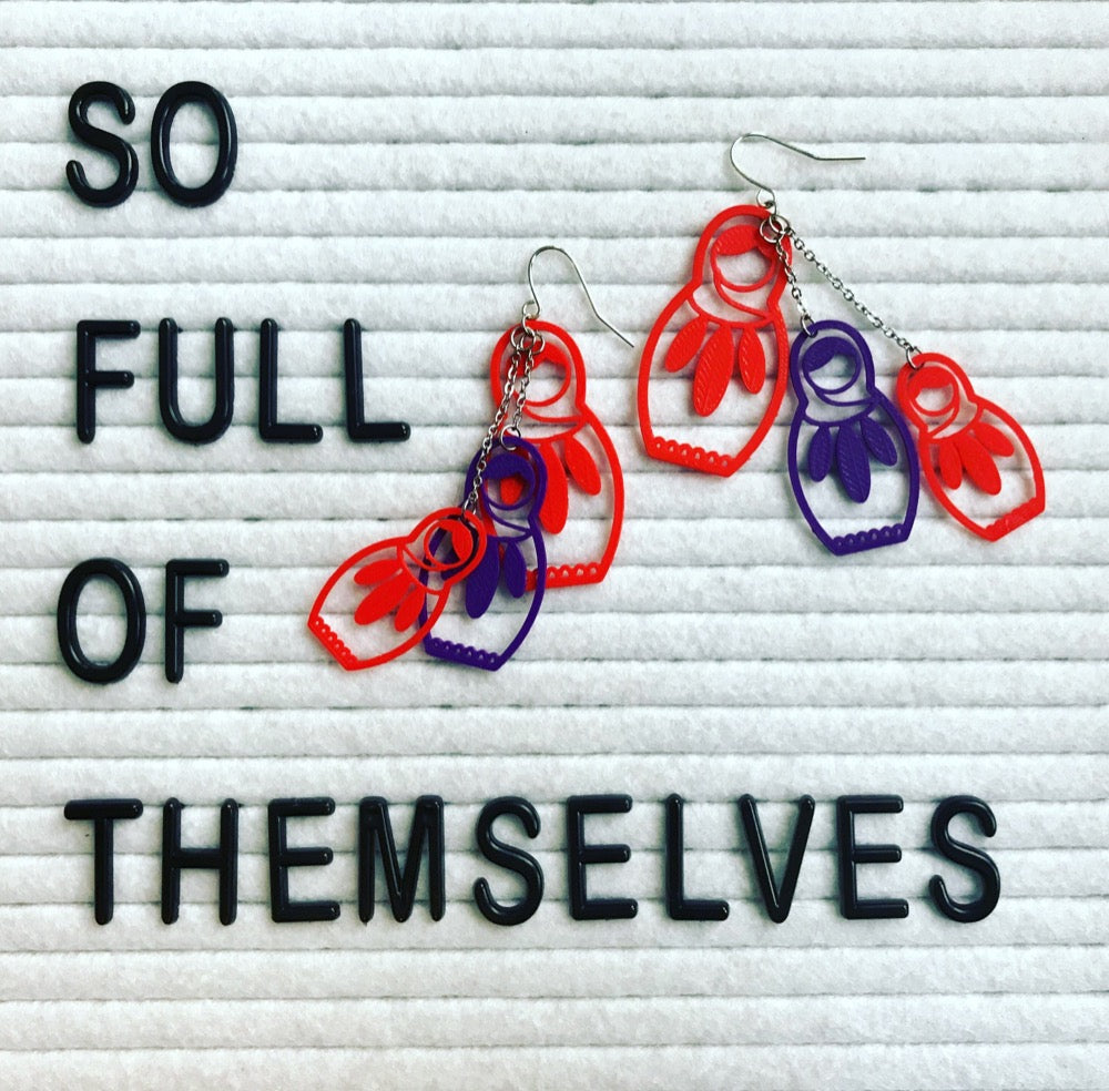Full of Themselves 3D Printed Earrings