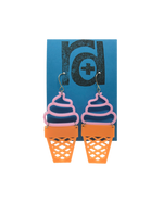 Load image into Gallery viewer, Two earrings shaped as ice cream cones; the top is a pink swirled shape like soft serve and the bottom is orange like a sugar cone.