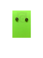 Load image into Gallery viewer, On a bright green earring card are 2 studs shaped as leaves. Each leaf is a olive green color and has veins that are gold. Not only do theres 3D printed earrings look like plants, they're made from them!