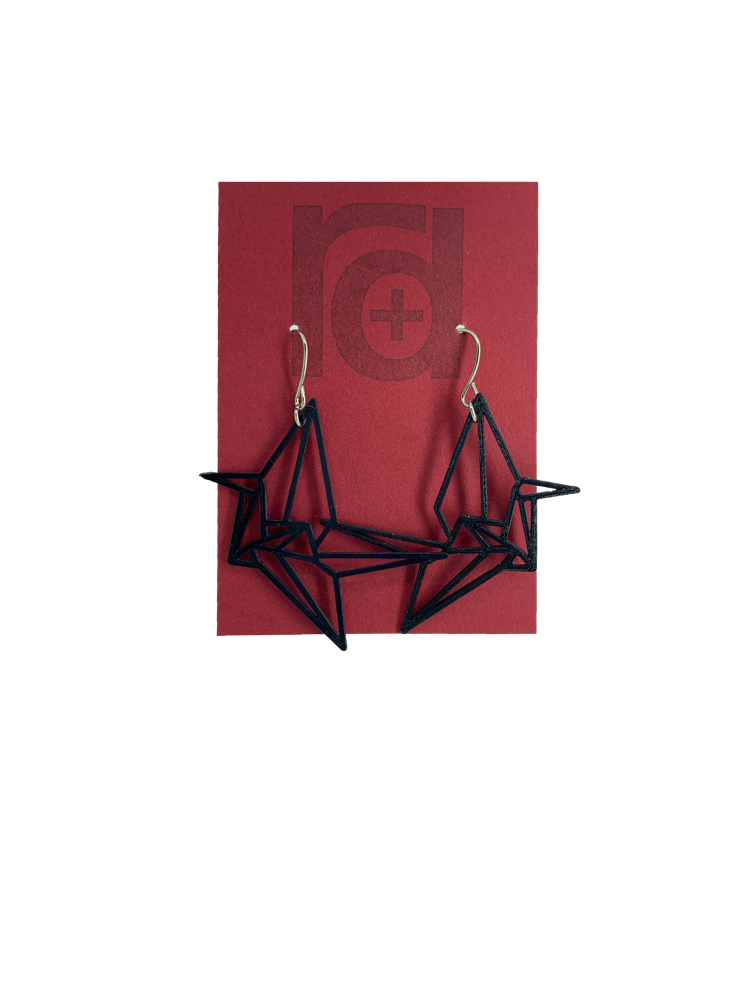 Paper Cranes 3D Printed Earrings