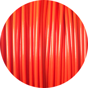 This is a close up of the spool of the eco friendly 3D printer filament that we use to create our items. Shown here in red, it is bright and bold like a fire engine, a perfectly ripe apple, or a sports car.