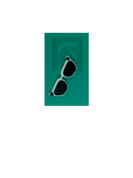Load image into Gallery viewer, On a teal card is a R+D 3D printed pin. They're in the shape of cat eye sunglasses and have white frames, black lenses, and black accents at the top corners of the glasses.