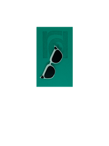 On a teal card is a R+D 3D printed pin. They're in the shape of cat eye sunglasses and have white frames, black lenses, and black accents at the top corners of the glasses.