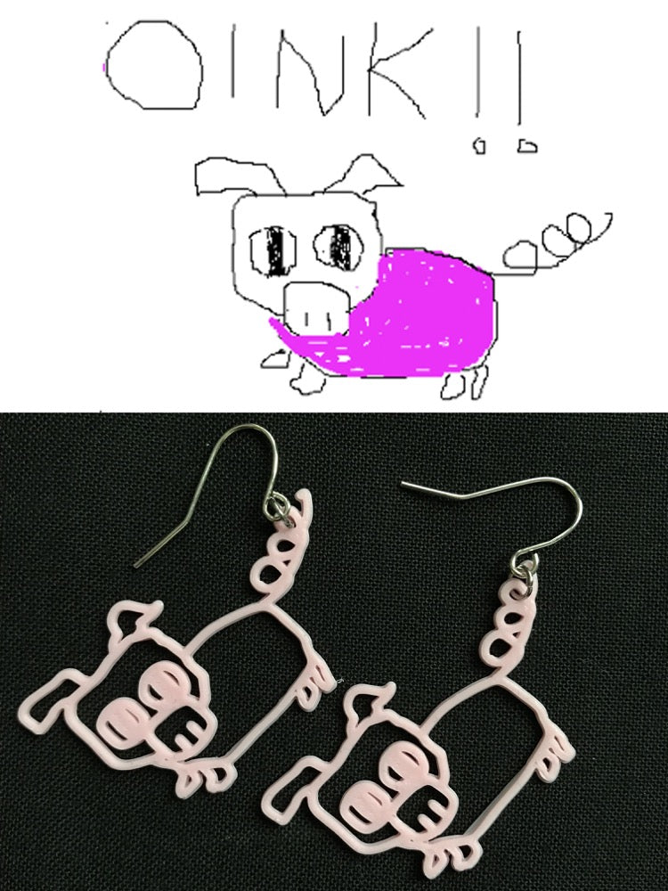 This image is split in two: the top image is a drawing of a pig and says OINK!! Below are two 3D printed pig earrings that match the pig drawing.