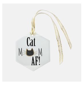 Cat mom AF glass ornament