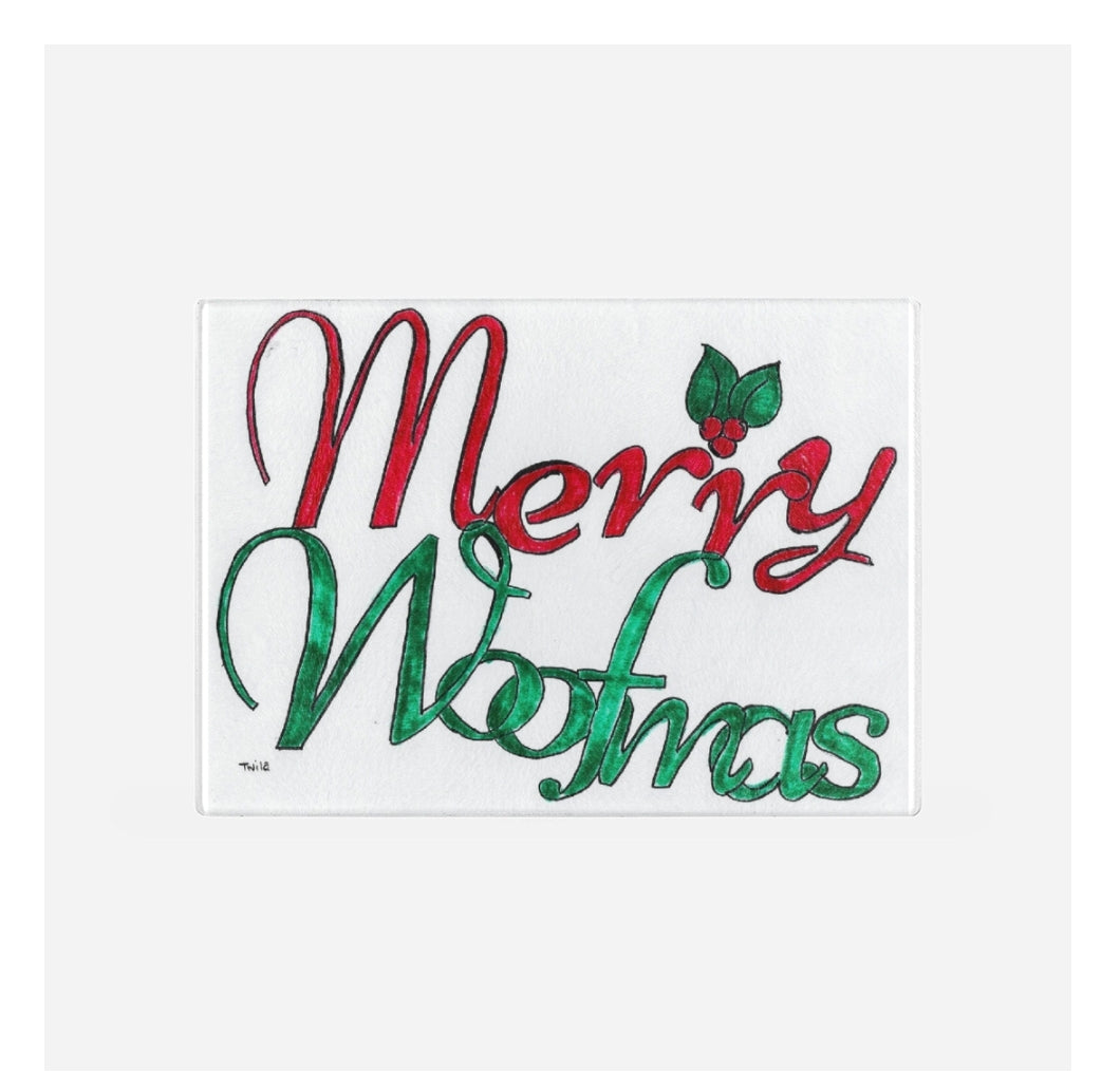 Merry Woofmas glass cutting board