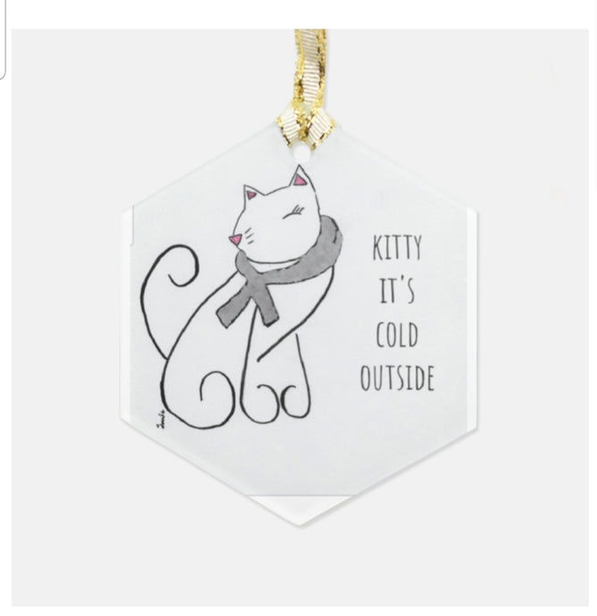Kitty it's cold outside ornament