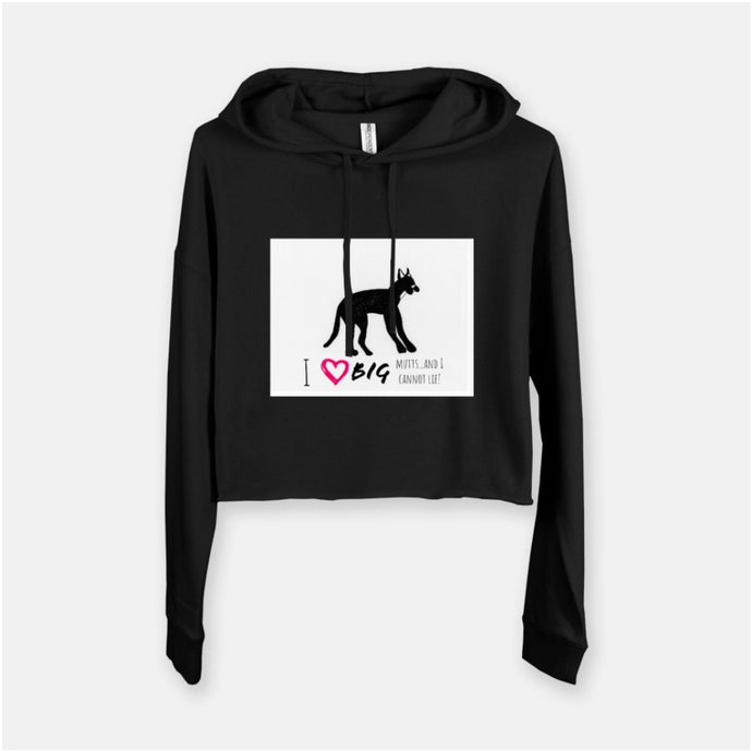 I heart big mutts hooded  cropped sweatshirt
