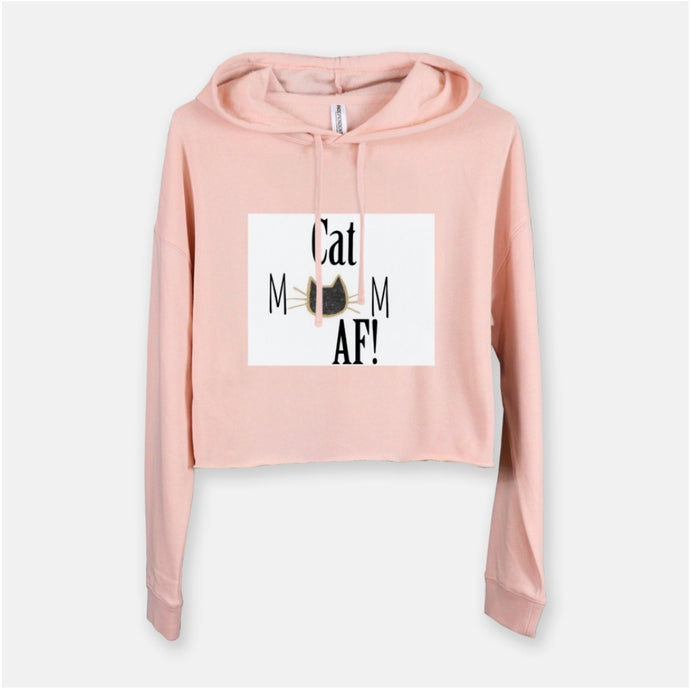 Cat mom AF hooded cropped sweatshirt