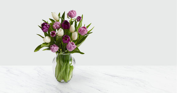 Darling Lavender & White Tulips with Vase