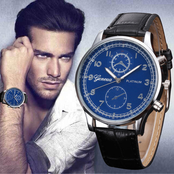 SAUJO01 Mens Watches PU Leather Quartz Watch Men Business Quartz Watch Fashion Casual Men's Watches Wristwatch Relgio Masculino