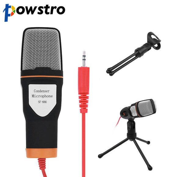 3.5mm Jack Audio Condenser Microphone Mic Studio Sound Recording Wired Microphone with Stand for Radio Braodcasting Singing