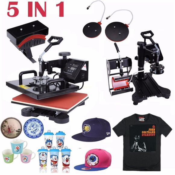 5 in 1 Combo Digital Heat Press Machine Swing Heat Sublimation Transfer for T-Shirt Mug Cup Cap Hat Plate