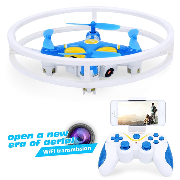 Dowellin Toy Store (AliExpress) Mini Drone with Camera hd RC Quadcopter Selfie Drone 0.3MP FPV Dron Nano Drones WiFi Phone Control Drones Professional D1 Blue