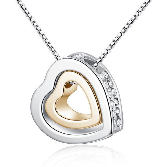 SAUALA01 Apex Trading 1PC Fashion Double Heart Crystal Rhinestone Eternal Love Silver Necklace