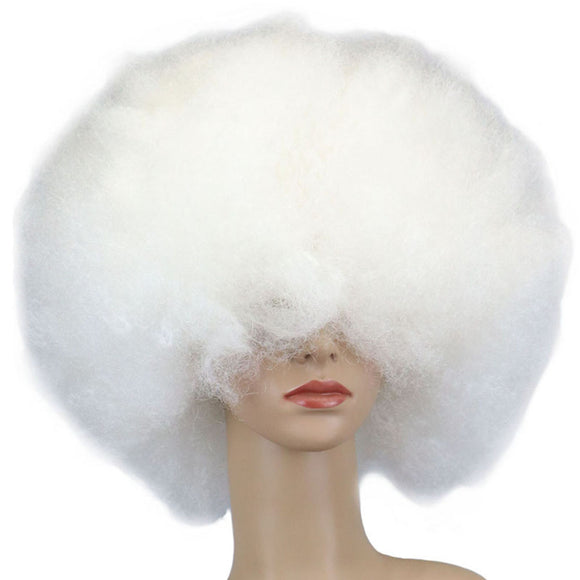 SAUJO01 IROBOTBOX Clown Hair Wig Cosplay Showing Clown Fluffy Ball-shape Wig Hairstyle Headwear for Halloween Masquerade Christmas (White)