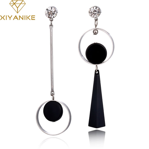 XIYANIKE Korean Fashion Geometric Long Asymmetry Earring Rhinestone Circle Ear Stud New Acrylic Big Earrings Bijoux Brincos E203
