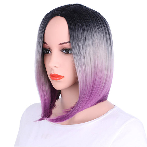 Bob Wig Gradient Color Cosplay Synthetic Hair Wig Short Straight Wigs Lace High Temperature Bob Wig