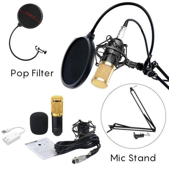 BM-800 Professional Studio Broadcasting Recording Condenser Microphone with Mental Shock Mount Phone Stand Pop Filter and Sound Card (Black Gold)