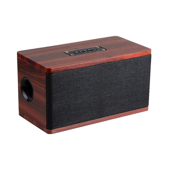 Vintage Wooden Dual Loudspeakers Wireless Bluetooth HIFI Speaker with 3D Surround Sound Controller TV Speaker Support Bluetooth Card FM (Red)