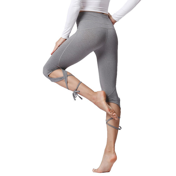 Sport Tights Pants Woman Fitness High Waist Push Up Solid Slim Cross Bandage Lace Up Stretch Ballet Dance Yoga Gym Crop Leggings