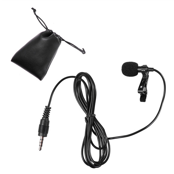 Clip On Lavalier Microphone 3.5mm Jack Hands Free Mini Condenser Microphone Lapel Mikrofon Microfono Mic for Lectures Speaking Mobile Phone PC Singing Stereo HiFi Sound Quality