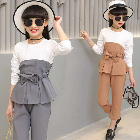 Girls Spring and Summer Suit 2018 New Style Girl Suit, Fashion Stitching Belt Casual T-shirt + Nike Pants, Gray Pink Khaki