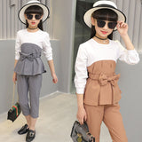 Baby Girls Spring and Summer Suit 2018 New Style Girl Suit, Fashion Stitching Belt Casual T-shirt + Nike Pants, Gray Pink Khaki
