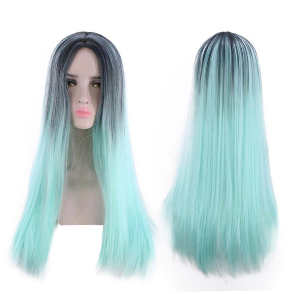 SAUJO01 IROBOTBOX Women Long Straight Wig Cosplay Synthetic Hair Wig Gradient Wigs Headwear for Women Grils (Mint Green)