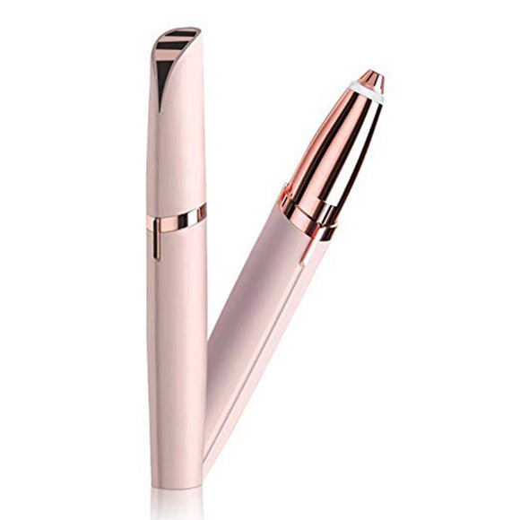 SAUJO01419 Mini Electric Eyebrow Trimmer Lipstick Brows Pen Hair Remover Painless Eye brow Razor Epilator with LED Light OPP Package