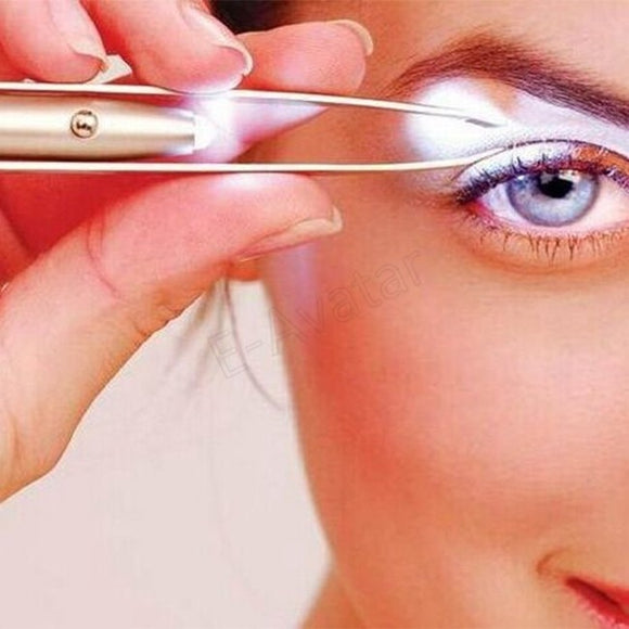 SAUJO01419 Make Up Tool LED Light Eyelash pinzas cejas Eyebrow Hair Removal Tweezer pinzette Stainless Steel pinzas de depilar con luz