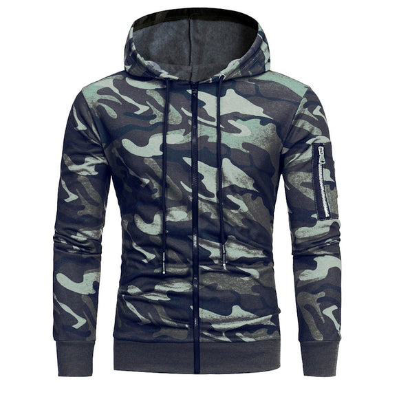 SAUJO01 Mens' Long Sleeve Camouflage Hoodie Zipper Sweatshirt Tops Jacket Coat Outwear