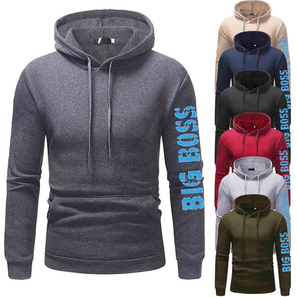 SAUJO01 Mens' Autumn Winter Long Sleeve Casual Hoodie Pullover Sweatshirt Outwear Tops