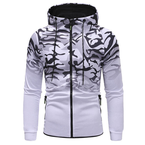 Men's Autumn Winter Packwork Camouflage Slim Fit Long Sleeve Hoodie Top Blouse