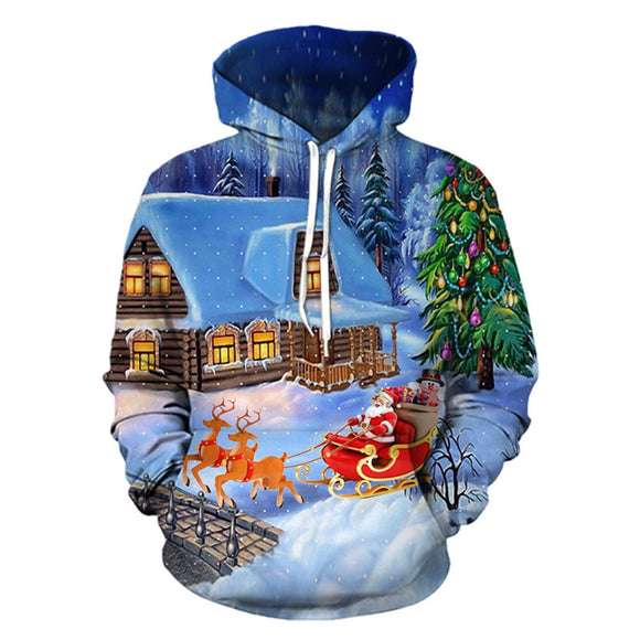 Mens 3D Printed Christmas Pullover Long Sleeve Hooded Sweatshirt Tops Blouse