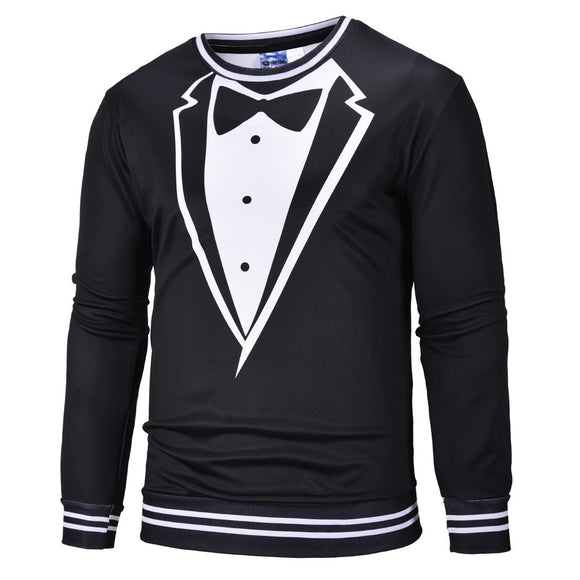 Men's New Personality Fake Two Suits Long Sleeve Guard Digital Print Blouse